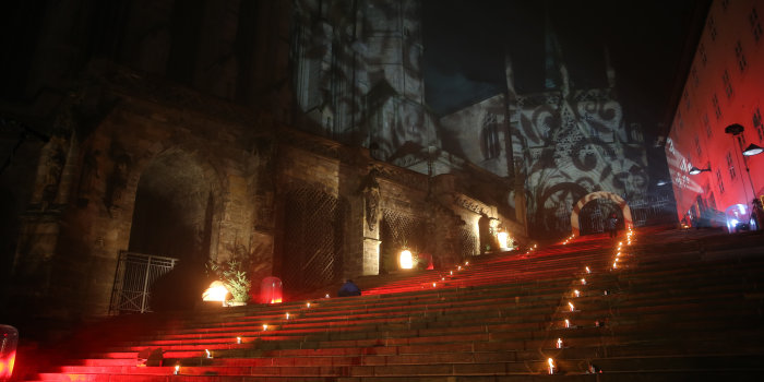 Cathedral Steps with light show